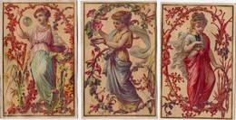 Lot De 3 Chromos Dorés Du XIXéme Siècle - Femme De L'Antiquité - Art Nouveau - - Unclassified