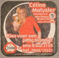 Sous-bock Cristal Céline Malyster Miss Belgian Beauty 2006 (femme) Bierdeckel Bierviltje Coaster (V) - Portavasos