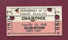 170321 - TICKET TRANSPORT METRO CHEMIN DE FER TRAM - 1968 Téléphérique Vallée Blanche CHAMONIX K08077 Aiguille Du Midi - Europa