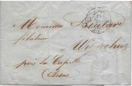 Paris 1854 Cachet 2e PARIS 25c  Pour Wignehies Aisne - Handstempel