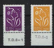 2005 - MARIANNE DE LAMOUCHE N° 3731 Et 3732 - Indicatif T.D. (Taille Douce) Sur Marge - 2004-08 Marianne Van Lamouche