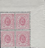 Luxembourg - Luxemburg -Timbres Armoires 1880  30C Bloc à 4  MNH**  Michel 44B - Blokken & Velletjes