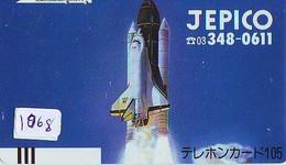 TELECARTE JAPAN * FRONT BAR 110-4344 * ESPACE (1068)  GLOBE * SATELLITE * TERRESTRE * MAPPEMONDE * TK Phonecard JAPAN * - Spazio