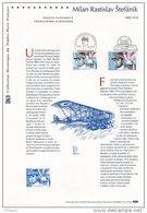 """ FRANCE - SLOVAQUIE : MILAN RASTISLAV STEFANIK ""  Sur Document Officiel De 2003 N° YT 3554 + Timb. Slovaque. DPO - Gezamelijke Uitgaven"
