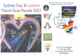 (LL 7) Mardi Gras Parade At The Sydney Cricket Ground (under COVID-19 Regulation) Postmarked 6 March 2021 + Canada Pride - Disease