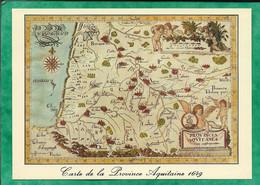 Carte Géographique De L'Aquitaine En 1949 - 2scans Bayonne Pau Bordeaux Agen Montauban Cahors Bagnères - Aquitaine