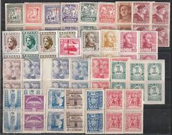 1936-49. ** ESTADO ESPAÑOL. Lote De Sellos, En Nuevo Sin Fijasellos, Bloques De Cuatro - 1931-50 Neufs
