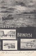 BRINDISI-BACI E SALUTI DA..-3 VEDUTINE-CARTOLINA VIAGGIATA IL 11-2-1907 - Brindisi