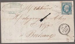 N°14 Pc 3211, Cursive 32 St Médard, Dateur B Sur Lettre Pour Bordeaux - 1853-1860 Napoleon III