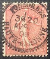 129 ° 8 Haute Garonne Fonsorbes Perlé Semeuse 10 C Rose 20/4/1906 Oblitéré - 1903-60 Säerin, Untergrund Schraffiert
