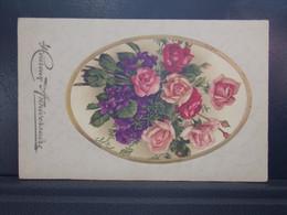 186 .  BOUQUET DE FLEUR . ROSES . HEUREUX ANNIVERSAIRE . CARTE GAUFREE - Flowers