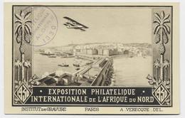 ALGERIE CARTE SPECIALE EXPO PHIL INT AFRIQUE DU NORD ALGER 1930 + VIGNETTE AU DOS - Brieven En Documenten