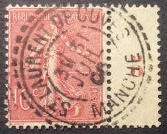 129 ° 21 Manche St Laurent De Cuves Tireté Semeuse 10 C Rose 31/7/1906 Oblitéré - 1903-60 Säerin, Untergrund Schraffiert
