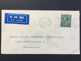 GB George V Air Mail Cover Victoria Docks To Helsingfors Sweden `R & H Green And Silley Weir Ltd.` - Covers & Documents