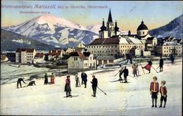CPA Mariazell Steiermark, Ortspartie, Skiläufer - Other