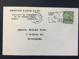 GB George V Postcard 1933 Belfast Slogan Postmark `Shop By Telephone` To Birmingham - `Henry & Company` - Cartas