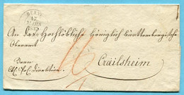 Umschlag Von Bern Nach Crailsheim 1837 - ...-1845 Prephilately