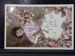 256 . VIVE LA SAINT YVES . FEMME AVEC DES FLEURS . 1909 - Firstnames