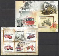 BC739 2010 GUINE GUINEA-BISSAU FIREFIGHTERS FIRE TRUCKS BOMBEIROS VIATURAS 1KB+1BL MNH - Trucks