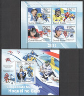 BC646 2011 GUINE GUINEA-BISSAU SPORT ICE HOCKEY WORLD CUP WINNER FINLAND KB+BL MNH - Jockey (sobre Hielo)