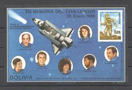 NW0085 !!! IMPERFORATE BOLIVIA SPACE EN MEMORIA DEL CHALLENGER FAMOUS ASTRONAUTS 1BL MNH - Altri