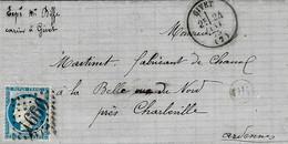 1875- Lettre De GIVET( Ardennes ) Cad T16 Affr. N°60 Oblit. G C 1660 - 1849-1876: Periodo Classico