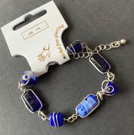 Zilverkleurig Armbandje Met Blauwe Steentjes - Nieuw - Bracelets