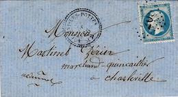 1866- Lettre De AUBIGNY-LES-POTTES ( Ardennes ) Cad T22 Affr. N°60 Oblit. G C 208 - 1849-1876: Classic Period