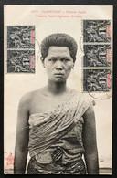 Indochine, N°3 (x5) Sur CPA - TAD BASSAC, LAOS 27.12.1906 Via Phnom Penh Pour Mytho, Cochinchine - (B418) - Covers & Documents