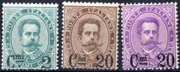 * 1890/91, Soprastampati, Serie Completa Di Tre Valori Con Gomma Originale, Linguellati (Sass. 56-58). - Non Classificati