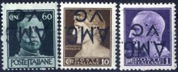 ** 1945, 10 C., 60 C. E 1 Lira Con Soprastampa Capovolta, Integro, Sass. 1d, 6d E 8d - Non Classificati