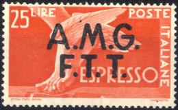 ** 1947, Espressi, 25 Lire Integro, Sass. 2 - Non Classificati