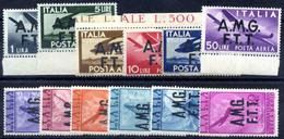 * 1947, Posta Aerea Serie Completa Di 12 Valori, Linguellati O Gomma Ingiallita, Valutati Come Linguellati, Sass. 1/12 - Non Classificati