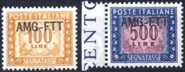 ** 1949, 100 E 500 Lire Segnatasse, Integri, Sass. 27/28 - Non Classificati