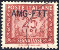 O 1954, 25 Lire Segnatasse Con Nuovo Tipo Di Soprastampa Usato, Cert. RAY, Sass. 25A - Non Classificati