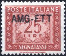 ** 1954, 25 Lire Segnatasse Con Nuovo Tipo Di Soprastampa, Integro, Cert. Enzo Diena, Sass. 25A - Non Classificati