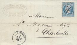 1866- Lettre De CARIGNAN ( Ardennes ) Cad T15 Affr. N° 22 Oblit. G C 736 - 1849-1876: Classic Period