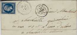 1861- Lettre De REVIN  ( Ardennes ) Cad T22 Affr. N° 14 Oblit. Pc  2659 + Cad De FUMAY ( Bureau De Direction ) - 1849-1876: Classic Period
