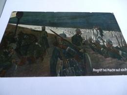 CP 14/18 TROUPE ALLEMANDE SURVEILLANT LES BARBELES LA NUIT A L'AIDE DE PROJECTEUR - 1914-18