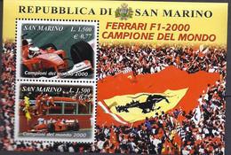 San Marino 2001 Ferrari Michel Nr. 1930 + 1931 (Foglietto / Block 28)  Unificato Foglietto 29 - Unused Stamps