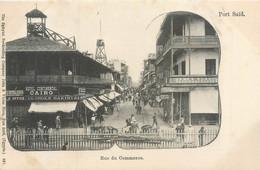 CPA Afrique > Egypte > Port-Saïd Rue Du Commerce Hotel Continental Cairo Bakirtzi Eastern Telegraph Office - Port Said
