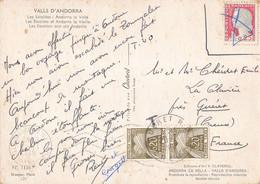 Carte Taxée Avec Paire Attachée De Timbres Timbre Taxe Type Gerbes Andorre Andorra Pour La France Gueret Creuse 1962 - Portomarken