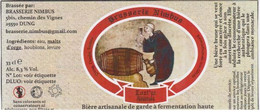 """Etiquette (label) De Biere Française   ( Beer, Cerveza, Birra, Bier); Micro-Brasserie """"NIMBUS"""" 25 - Bière"""