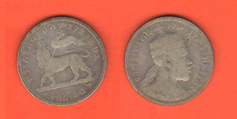 Etiopia Ethiopia 1/4 Birr 1889 Menelik II° - Ethiopia
