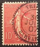129 ° 31 Tripoli Barbarie  Semeuse 10 C Rose 1907 Oblitéré - 1903-60 Säerin, Untergrund Schraffiert