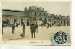03 MOULINS  La Gare  Des Voyageurs Anim Jolie Carte Couleurs 1905 Timb    /D17-2017 - Moulins