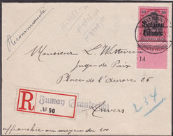 Belgique - COB OC 7 Sur Lettre Recommandée De Fumay (FR) Vers Antwerpen - Novembre 1915 - Voir Desc. - [OC1/25] Gen.reg.