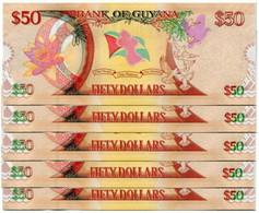 GUYANA  2016 $50 UNC FDS SET 5 BANCONOTE IN SERIE AA602837/41 - Guyana