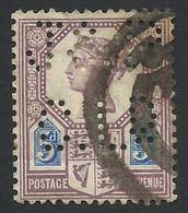 Great Britain, 5 P. 1887, Sc # 118, Mi # 93, Used, Perfin - Gebraucht