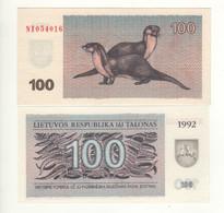 LITHUANIA   100 Talonas   1992   P42   ( Otters On Back)   UNC - Lithuania